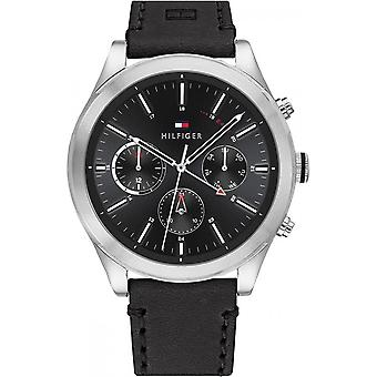 Tommy Hilfiger 1791740 Mens Black Leather Strap Wristwatch