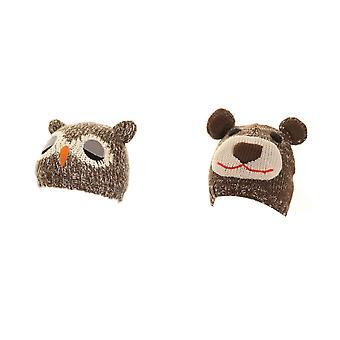 Childrens Eule und Bär Ski Mütze mit Ohren