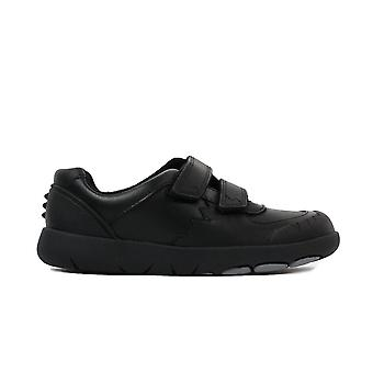Clarks Rex Pace Kids Black Leather Boys Rip Tape School Chaussures