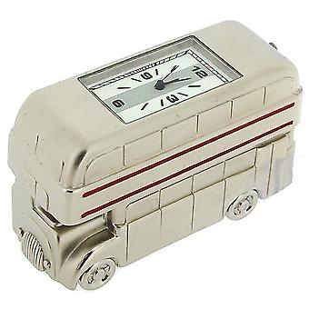 Miniature Silver Plated Double Decker London Bus Novelty Collectors Clock IMP78S