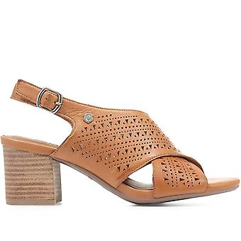 Carmela Womens Cut-Out Leather Heeled Sandals