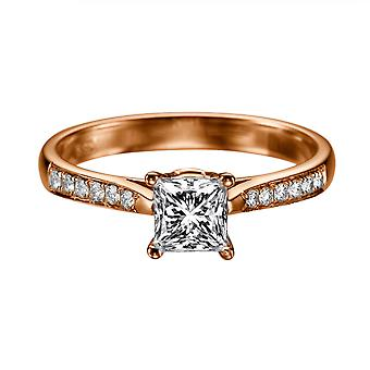 0.92 Carat E VS2 Diamond Engagement Ring 14K Rose Gold Solitaire w Accents Channel Set Cathedral