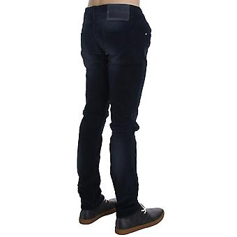 Blue-wash cotton stretch slim-fit jeans