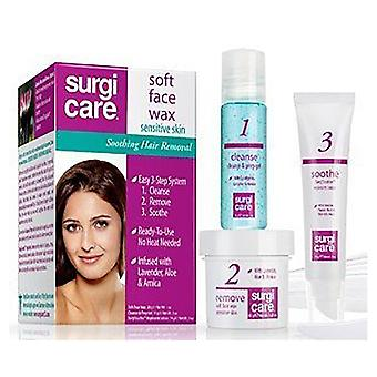 Surgicare soft face wax for sensitive skin, hair removal, 1 kit