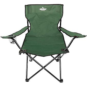 Milestone Lightweight Foldable Steel Camping Chair With Cup Holder Green