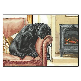 Heritage Crafts Villager Jim Cross Stitch Kit - After The Walk (Aida)
