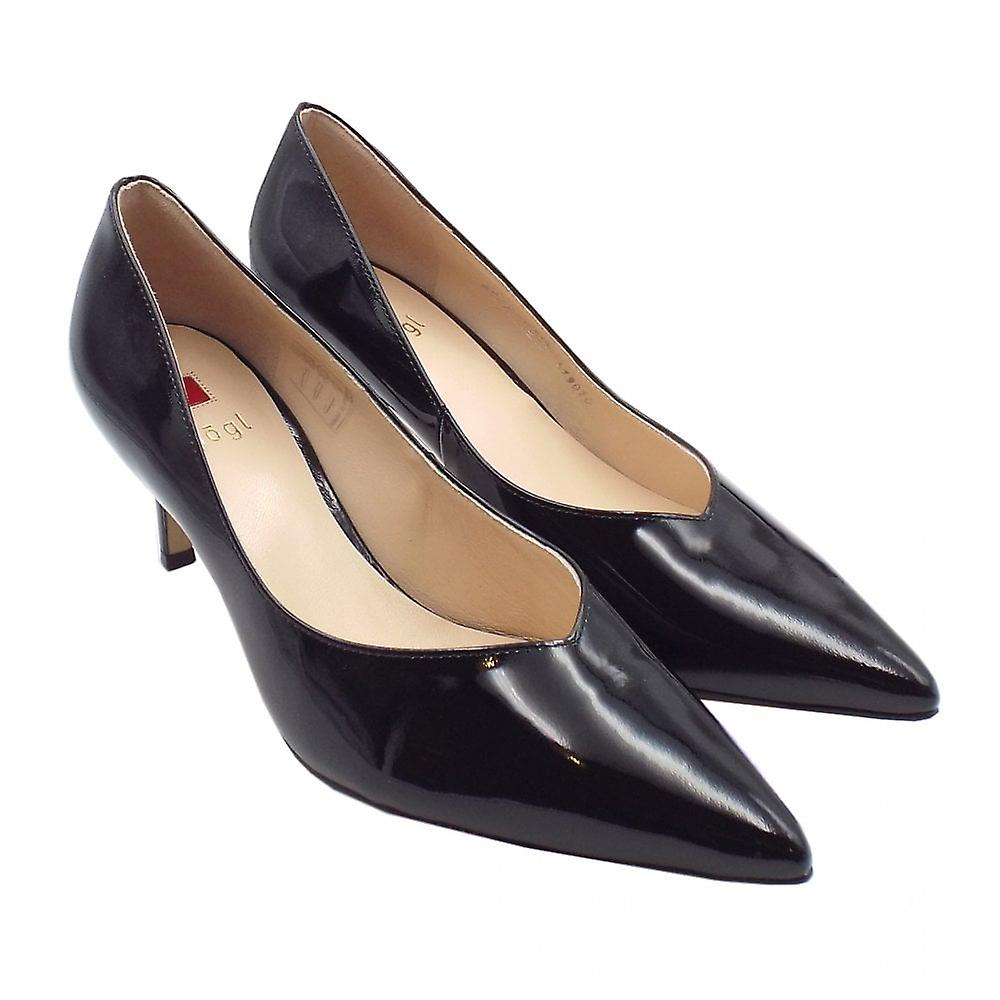 Högl 9-10 6124 Soul Stylish Pointed Toe Court Shoes In Black Patent