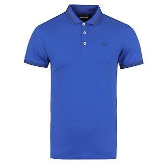 Emporio Armani blå tippet Slim Fit kort ermet Polo skjorte