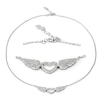ELANZA Heart Angel Wings Cubic Zirconia CZ Necklace Sterling Silver, 1.68 Ct
