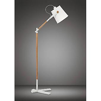 Nordica Floor Lamp With White Lampshade 1 E27 Bulb, Matt White / Beech With Ivory White Lampshade