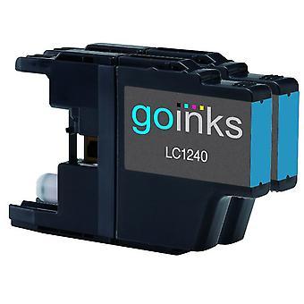2 Cyan Tintenpatronen ersetzen Brother LC1240C Compatible/Non-OEM by Go Inks