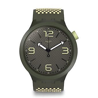 Swatch Watches So27m102 Big Bold Bbblanco Light Green & Khaki Silicone Watch