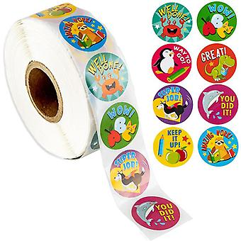 500pcs Reward Encouragement Sticker Roll - Motivational, Animaux mignons