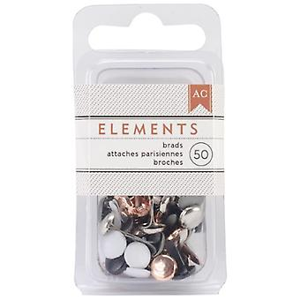 Basic Grey Elements Brads .1875' 50/Pkg - Metallic
