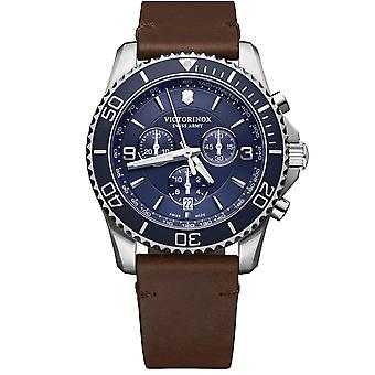 Victorinox Maverick Quartz Blue Dial Brown Leather Strap Men's Watch 241865