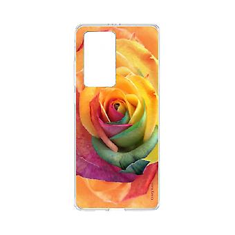 Hull For Huawei P40 Pro Soft Pink Colorful Flower