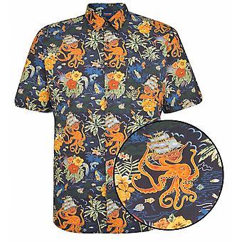 ESPIONAGE Espionage Octapus Print Short Sleeve Shirt