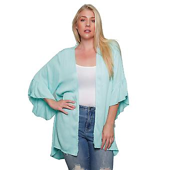 Women's Plus Size Lightweight Cardigan With Ruffled Bell Made in the USA 1x 2x 3x