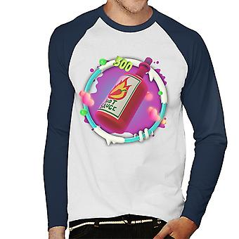Angry Birds Hot Sauce 3D Insignia Hombres's Baseball camiseta de manga larga