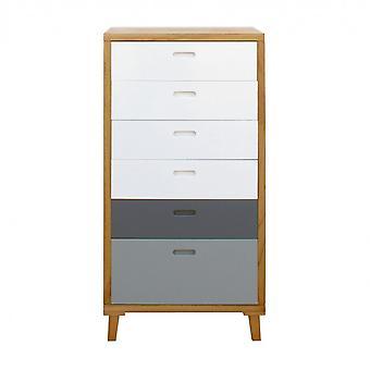 Rebecca Möbel Schublade 6 moderne grau weiß Holz Schubladen 119x60x45