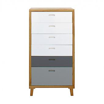 Tiroir de meubles Rebecca 6 Tiroirs en bois blanc gris moderne 119x60x45