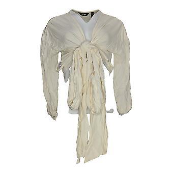 Du Jour Women's Top XXS Drop Shoulder Wrap Front Knit Ivory A343621