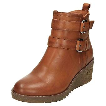 Carmela Leather Ankle Boots Wedge Heel 67605 Brown
