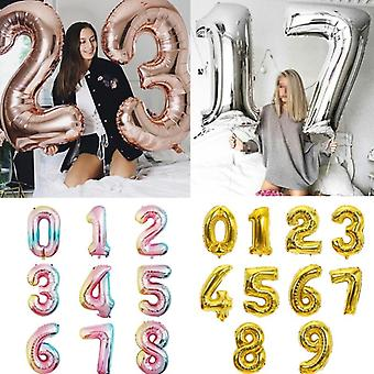 Multi-color, Big Size, Digit Foil Balloon For Birthday, Wedding Party, Baby