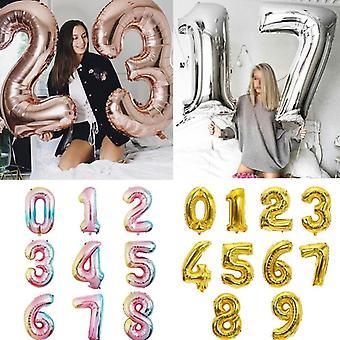 متعدد الألوان، حجم كبير، رقم احباط بالون لعيد ميلاد، حفل زفاف، طفل