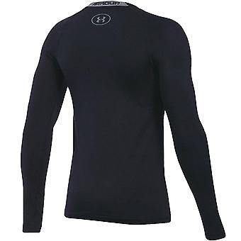 Under Armour Boys HeatGear Long Sleeve Sports Training Running T-Shirt Top Black