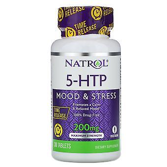 Natrol, 5-HTP, Libération de temps, Résistance maximale, 200 mg, 30 comprimés