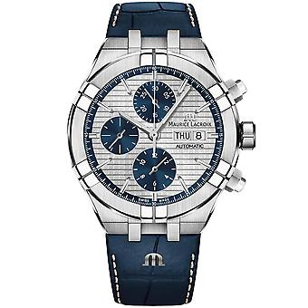 The Watch: Maurice Lacroix Aikon Blue Leather Strap Automatic Men's Chronograph (AI6038-SS001-131-1) 44mm Case