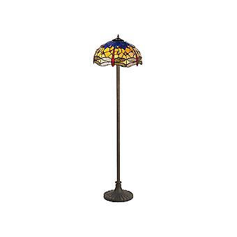 2 lampe de plancher de conception de steppe légère E27 avec l'ombre de Tiffany de 40cm, bleu, orange, cristal, laiton antique vieilli