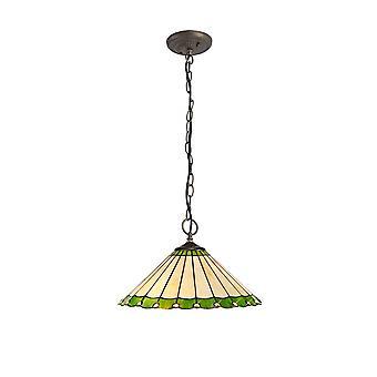 Luminosa Lighting - 3 Light Downlighter Sufit Wisiorek E27 z 40cm Tiffany Shade, Zielony, Kryształ, W wieku Antyczny Mosiądz
