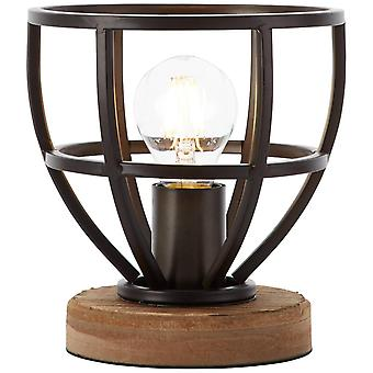 Lámpara BRILLANTE Matriz Lámpara de Mesa de Madera 18cm Negro Antiguo 1x A60, E27, 40W, adecuado para lámparas normales (no incluidas)