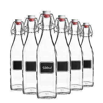 Bormioli Rocco 6pc Lavagna Glass Swing Top Bottle Set met Krijtbord Label - For Preserving, Home Brew - 500ml