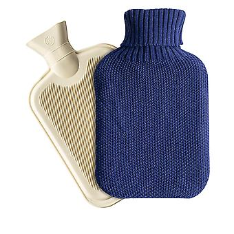 Nicola Spring Hot Water Bottle with Knitted Cover - 2 Litres - Midnight Blue