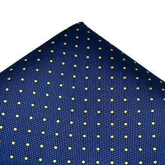 Kravaty Planet Gold Label Royal Blue & Yellow Polka Dot Hodvábne Vreckové námestie Vreckovka