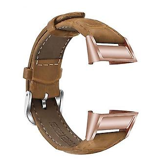 para Fitbit Charge 4 e Charge 3 Leather Strap Band Bracelet Replacement[Brown]