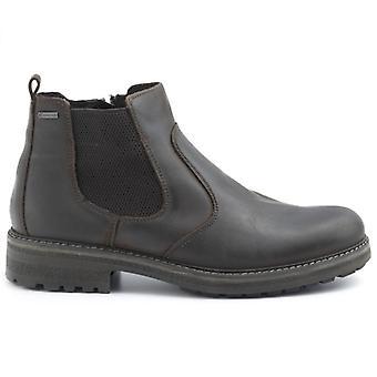 Bota de tobillo para hombre Igi&co dark Brown Leather y Gore Tex