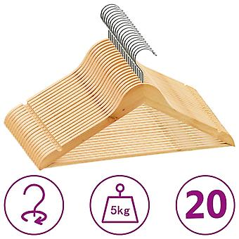 vidaXL 20 pcs. hanger set slip-proof hardwood