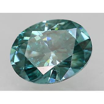 Cert 0.37 Karaat Vivid Blue VVS1 Oval Enhanced Natural Diamond 5.25x4.06mm 2VG