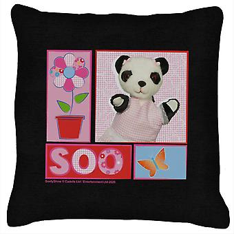 Sooty Soo Floral Text Butterfly Cushion