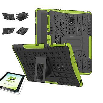 Für Samsung Galaxy Tab A 10.5 T590 / T595 2018 Hybrid Outdoor Schutzhülle Grün Tasche + 0.4 H9 Hart Glas