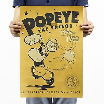 Popeye The Sailor Vintage Kraft Paper Classic Movie Poster Magazine Art Cafe