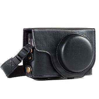 Megagear ever ready leather camera case compatible with panasonic lumix dc-tz95, dc-tz90 black