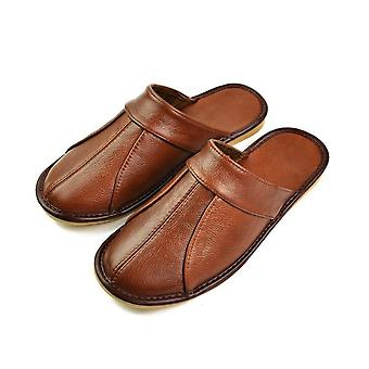 Luxury Leather Men Home Slippers Comfortable Bedroom Indoor Shoe