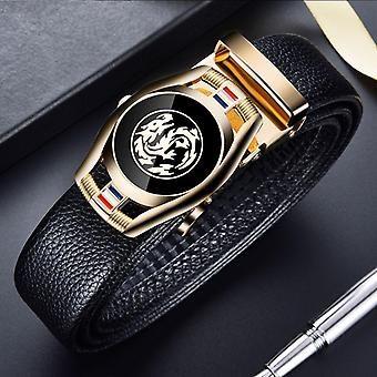 Men 3.5cm Width Sports Car Brand Fashion Automatic Buckle Genuine Leather Belt
