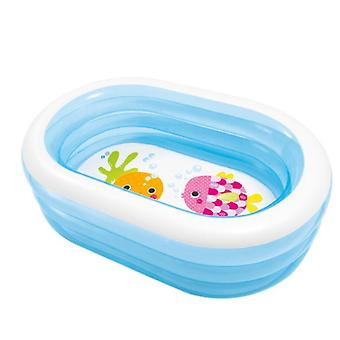 Mimigo Inflatable Pool For Kids, Family Kiddie Swimming Pool - Blow Up Rectangular Large Above Ground Pool Floats For Lounging Outdoors, Backyard For