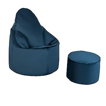 Pacific Blue Velvet Highback Bean Bag Chair Set Indoor Gaming Beanbag Lounger Gamer Seat with Footstool